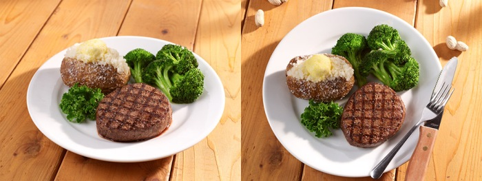 Sirloin steak, two different angles